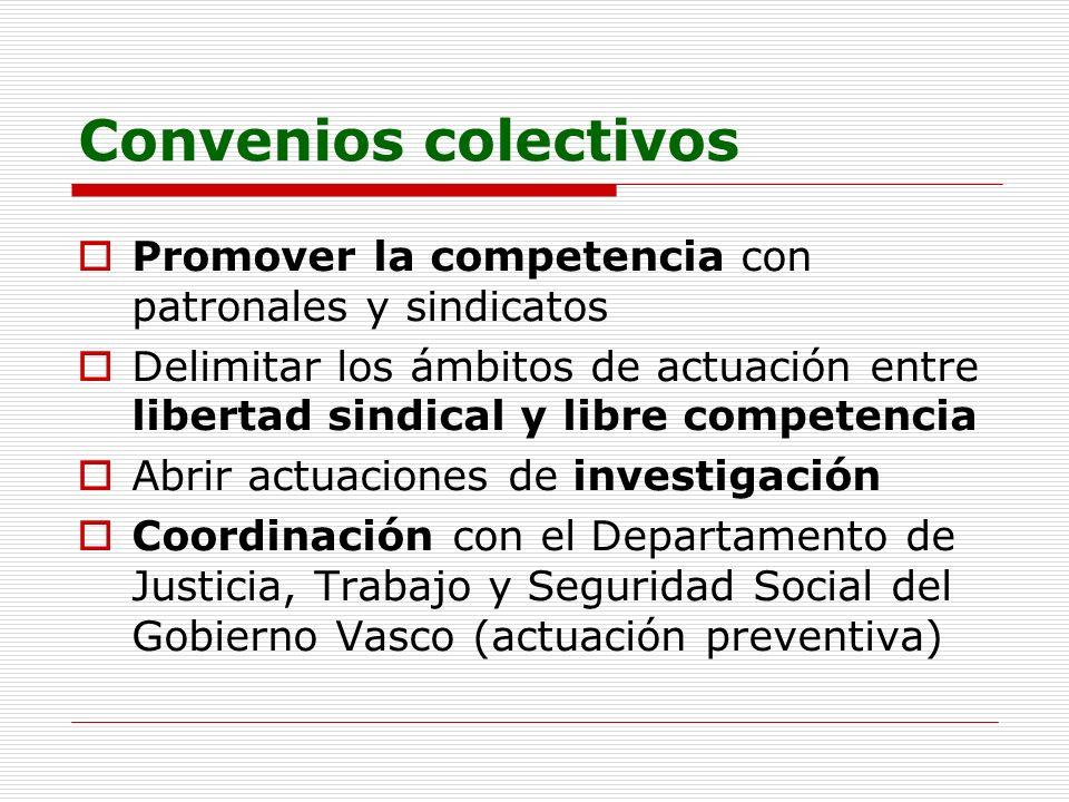 Convenios colectivos Promover la competencia con patronales y sindicatos.