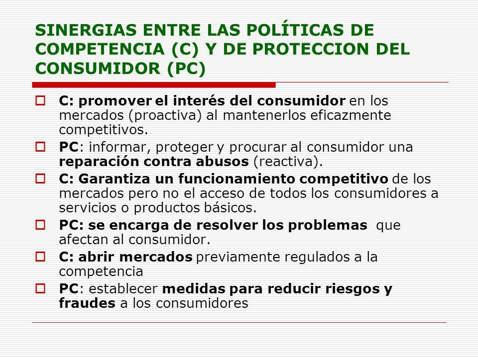 SINERGIAS ENTRE LAS POLÍTICAS DE COMPETENCIA (C) Y DE PROTECCION DEL CONSUMIDOR (PC)