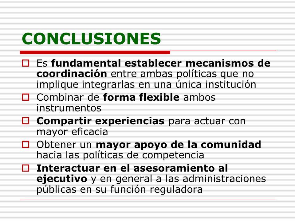 CONCLUSIONES Es fundamental establecer mecanismos de coordinación entre ambas políticas que no implique integrarlas en una única institución.