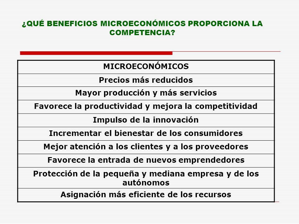 ¿QUÉ BENEFICIOS MICROECONÓMICOS PROPORCIONA LA COMPETENCIA