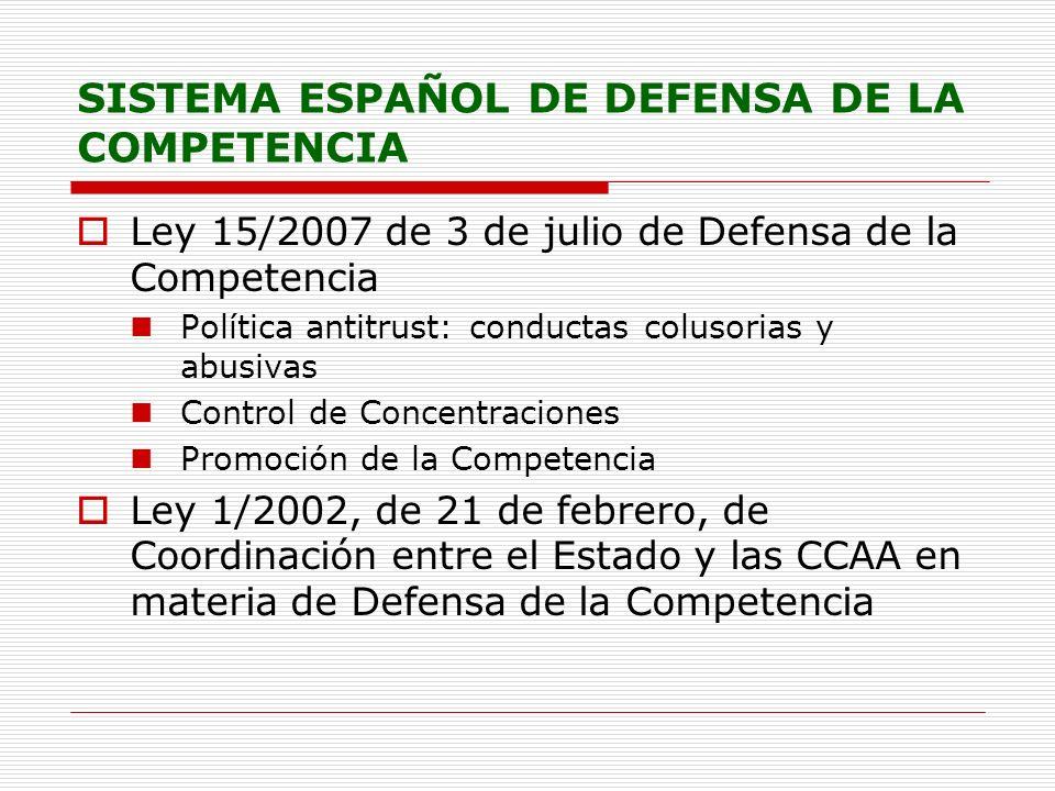 SISTEMA ESPAÑOL DE DEFENSA DE LA COMPETENCIA