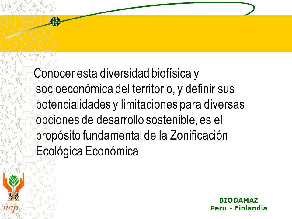 Conocer esta diversidad biofísica y socioeconómica del territorio, y definir sus potencialidades y limitaciones para diversas opciones de desarrollo sostenible, es el propósito fundamental de la Zonificación Ecológica Económica