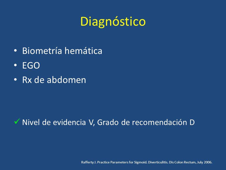 Diagnóstico Biometría hemática EGO Rx de abdomen