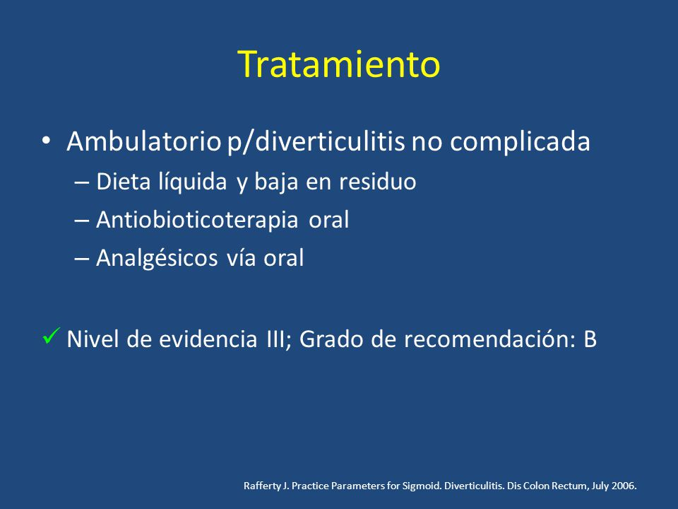 Tratamiento Ambulatorio p/diverticulitis no complicada