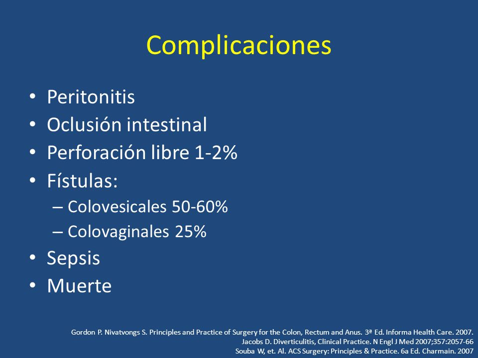 Complicaciones Peritonitis Oclusión intestinal Perforación libre 1-2%