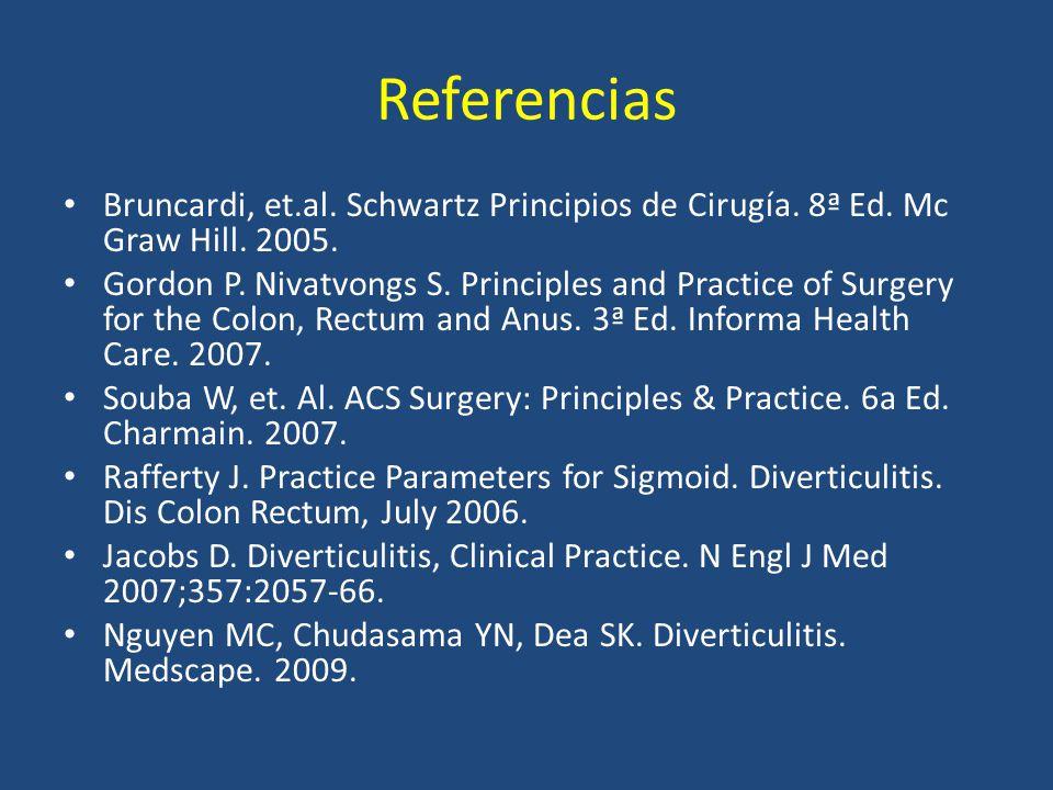 Referencias Bruncardi, et.al. Schwartz Principios de Cirugía. 8ª Ed. Mc Graw Hill. 2005.