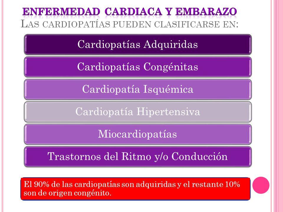 ENFERMEDAD CARDIACA Y EMBARAZO Las cardiopatías pueden clasificarse en: