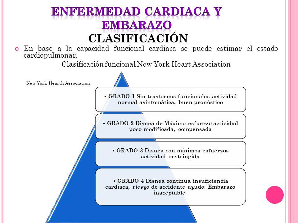 ENFERMEDAD CARDIACA Y EMBARAZO CLASIFICACIÓN
