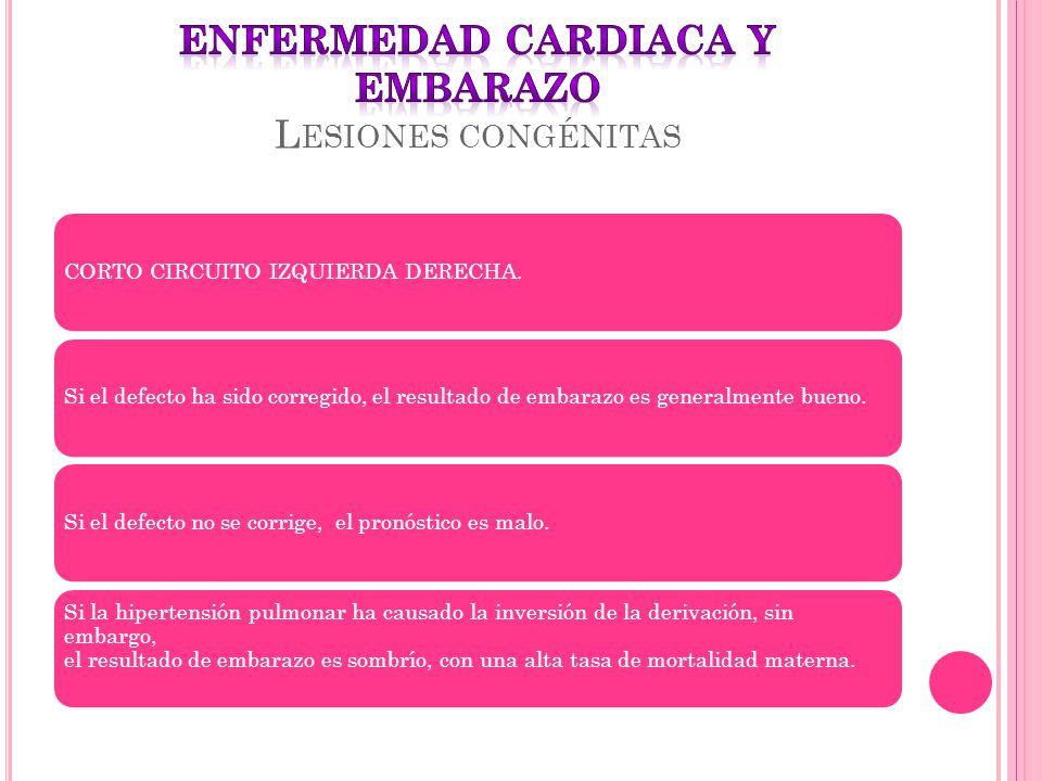 ENFERMEDAD CARDIACA Y EMBARAZO Lesiones congénitas