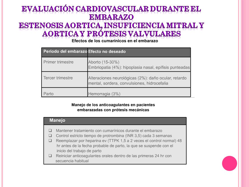 evaluación cardiovascular durante el embarazo estenosis aortica, insuficiencia mitral y aortica y prótesis valvulares