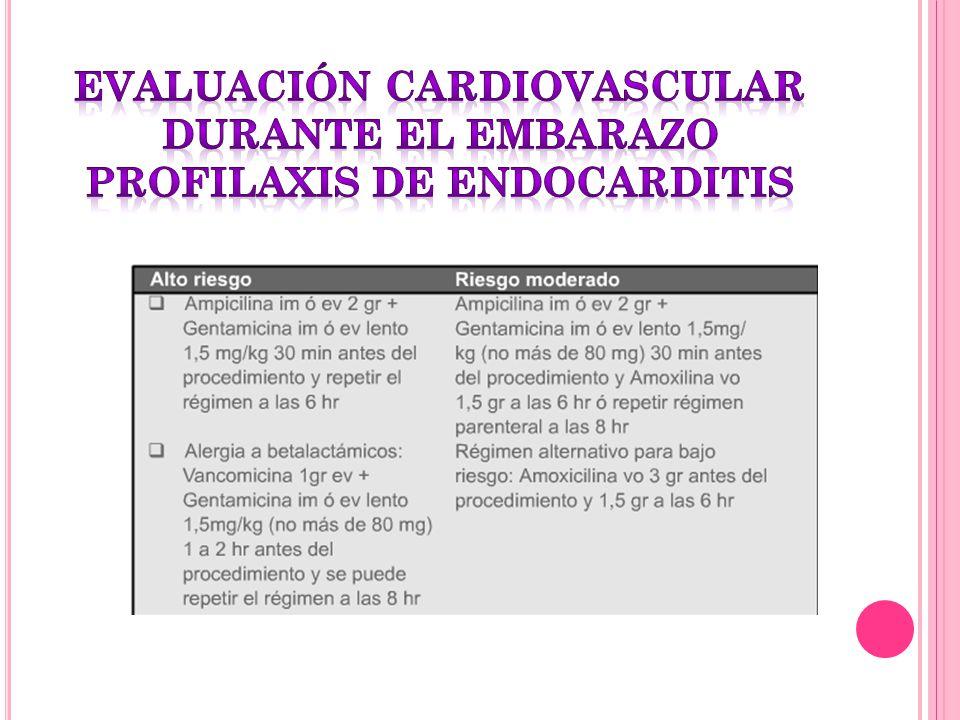 evaluación cardiovascular durante el embarazo profilaxis de endocarditis