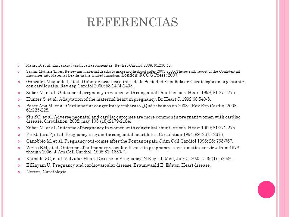 REFERENCIAS Manso B, et al. Embarazo y cardiopatías congénitas. Rev Esp Cardiol. 2008; 61:236-43.