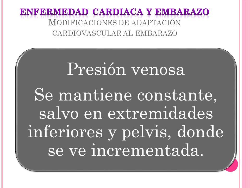 ENFERMEDAD CARDIACA Y EMBARAZO Modificaciones de adaptación cardiovascular al embarazo