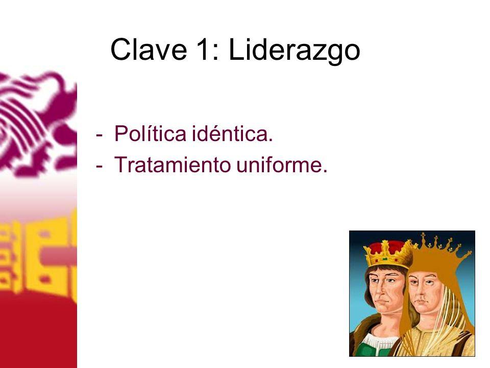 Clave 1: Liderazgo Política idéntica. Tratamiento uniforme.