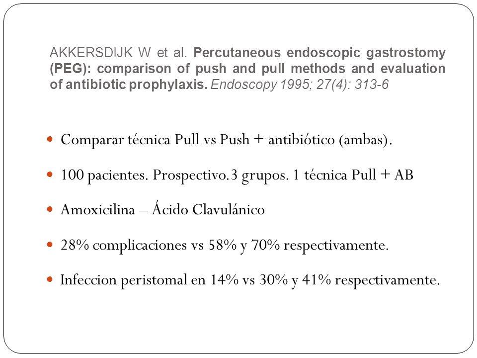 Comparar técnica Pull vs Push + antibiótico (ambas).