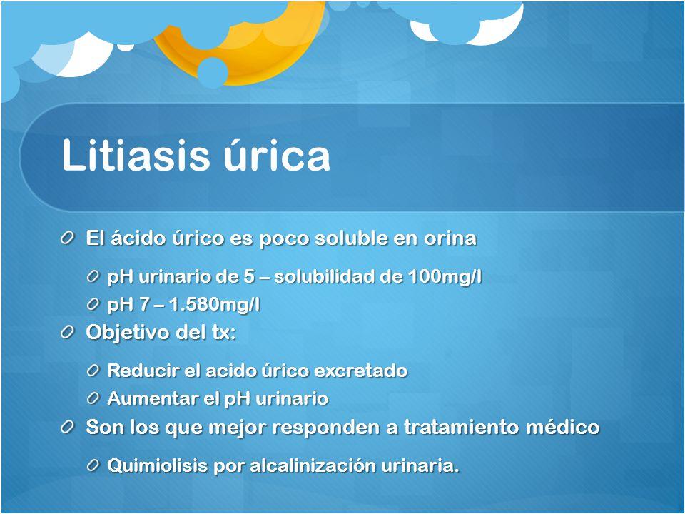 Litiasis úrica El ácido úrico es poco soluble en orina