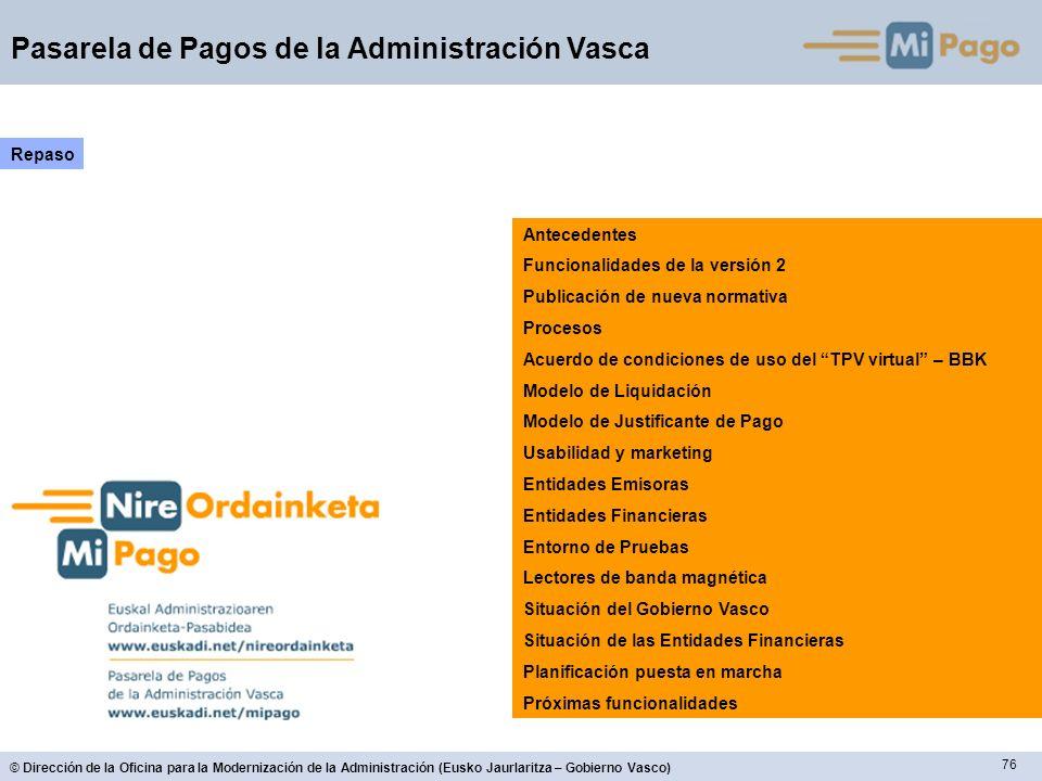 RepasoAntecedentes. Funcionalidades de la versión 2. Publicación de nueva normativa. Procesos. Acuerdo de condiciones de uso del TPV virtual – BBK.