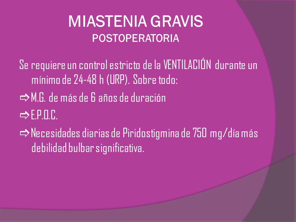 MIASTENIA GRAVIS POSTOPERATORIA