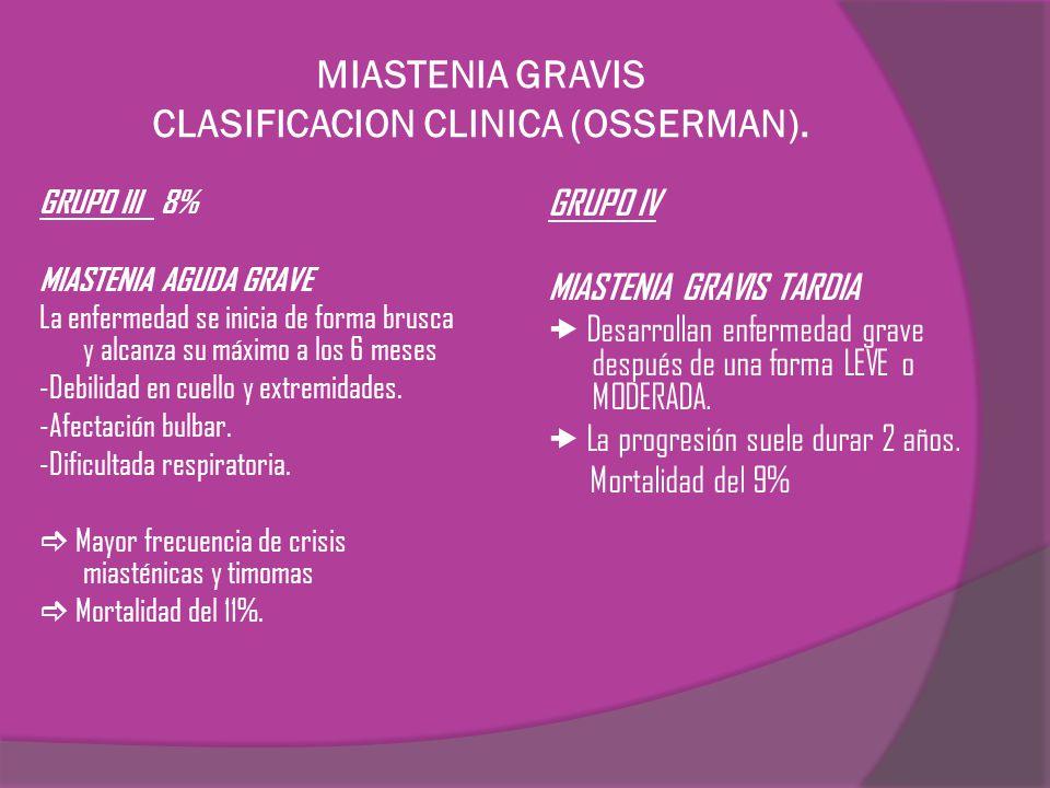 MIASTENIA GRAVIS CLASIFICACION CLINICA (OSSERMAN).