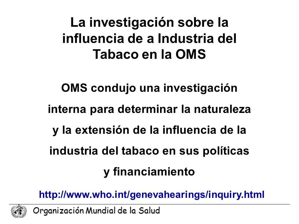 La investigación sobre la influencia de a Industria del Tabaco en la OMS