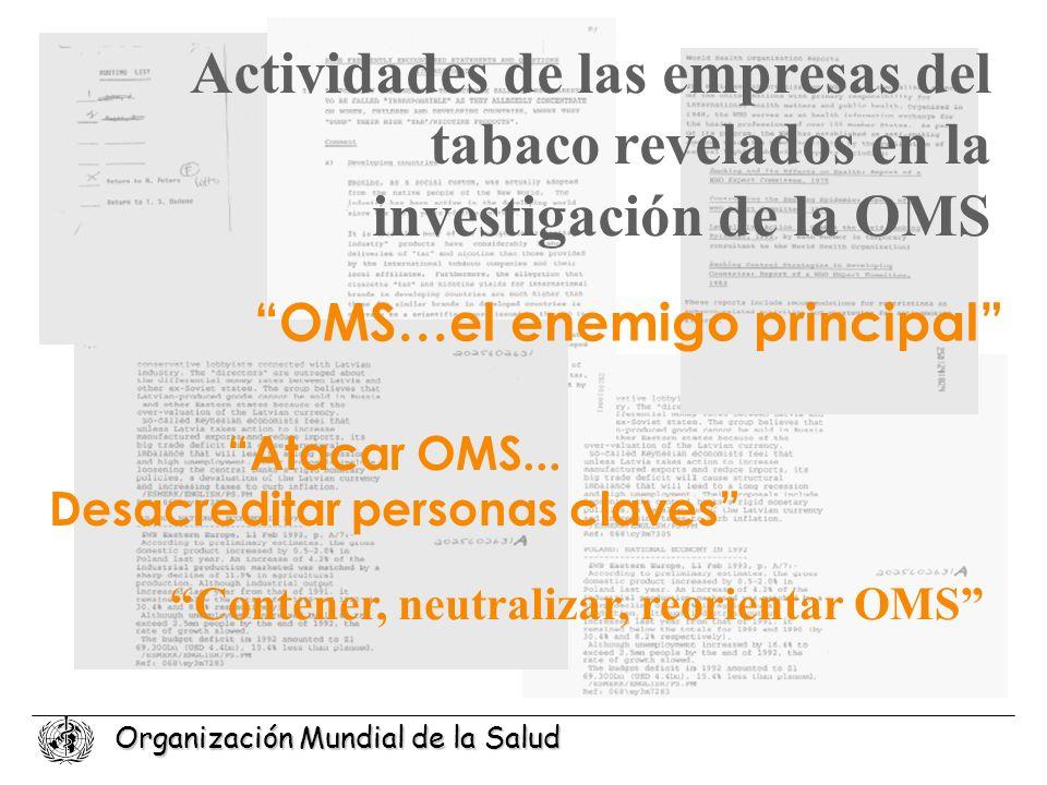 Actividades de las empresas del tabaco revelados en la investigación de la OMS