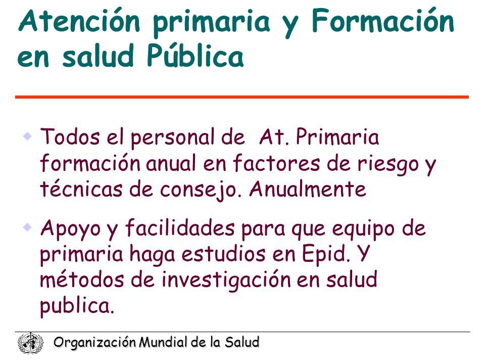 Atención primaria y Formación en salud Pública