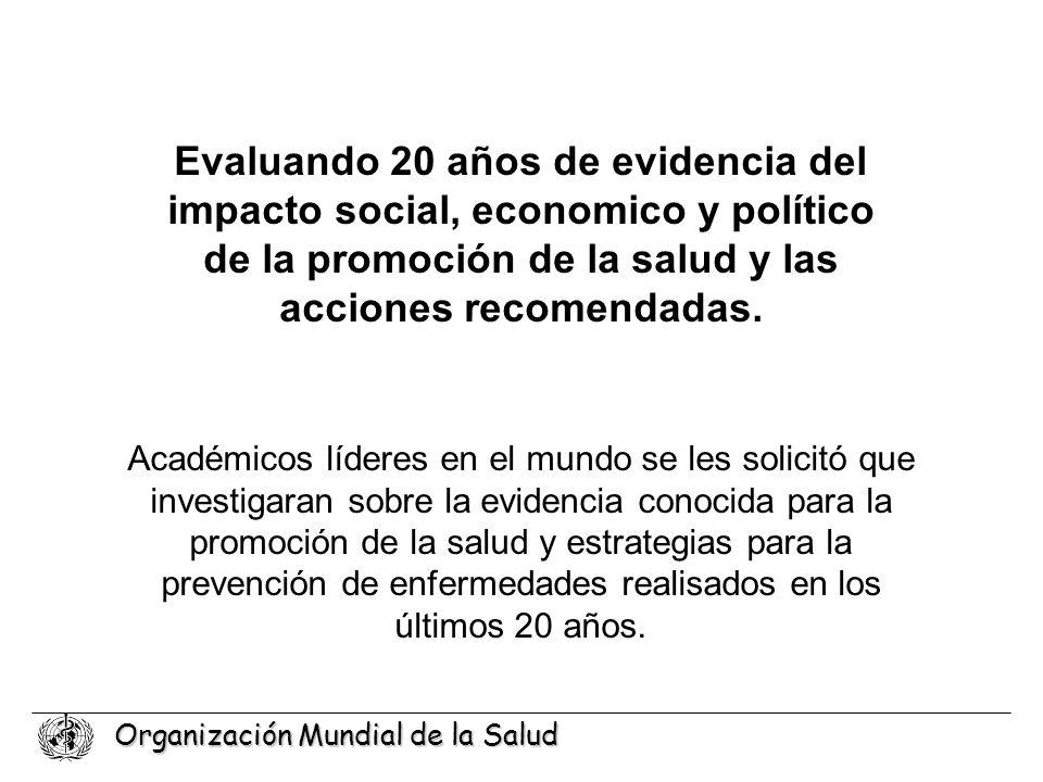 Evaluando 20 años de evidencia del impacto social, economico y político de la promoción de la salud y las acciones recomendadas.