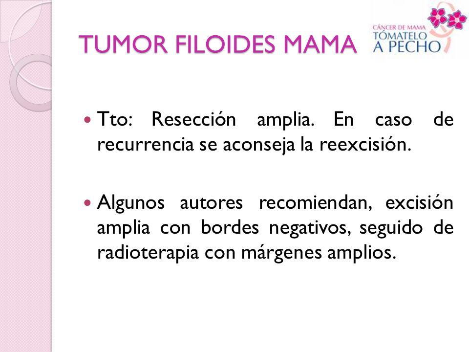 TUMOR FILOIDES MAMA Tto: Resección amplia. En caso de recurrencia se aconseja la reexcisión.