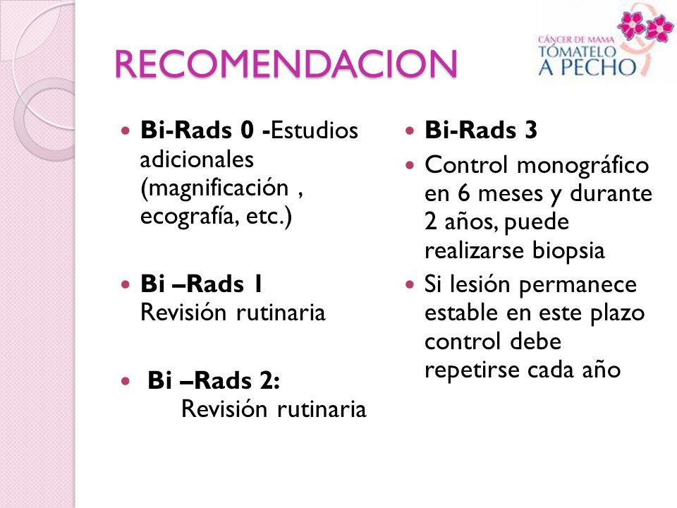 RECOMENDACION Bi-Rads 0 -Estudios adicionales (magnificación , ecografía, etc.) Bi –Rads 1 Revisión rutinaria.