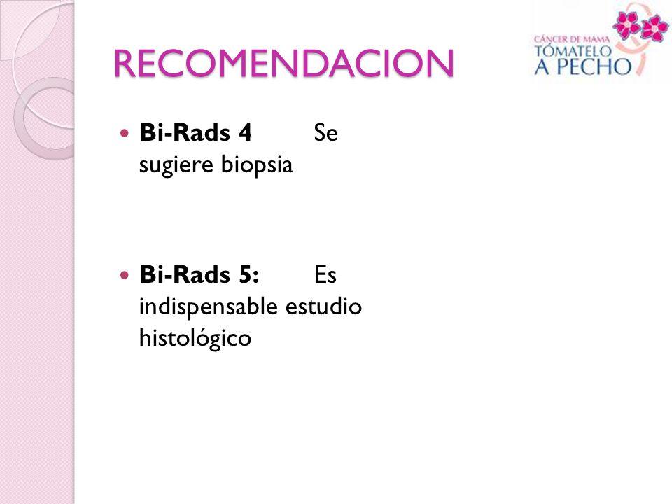 RECOMENDACION Bi-Rads 4 Se sugiere biopsia
