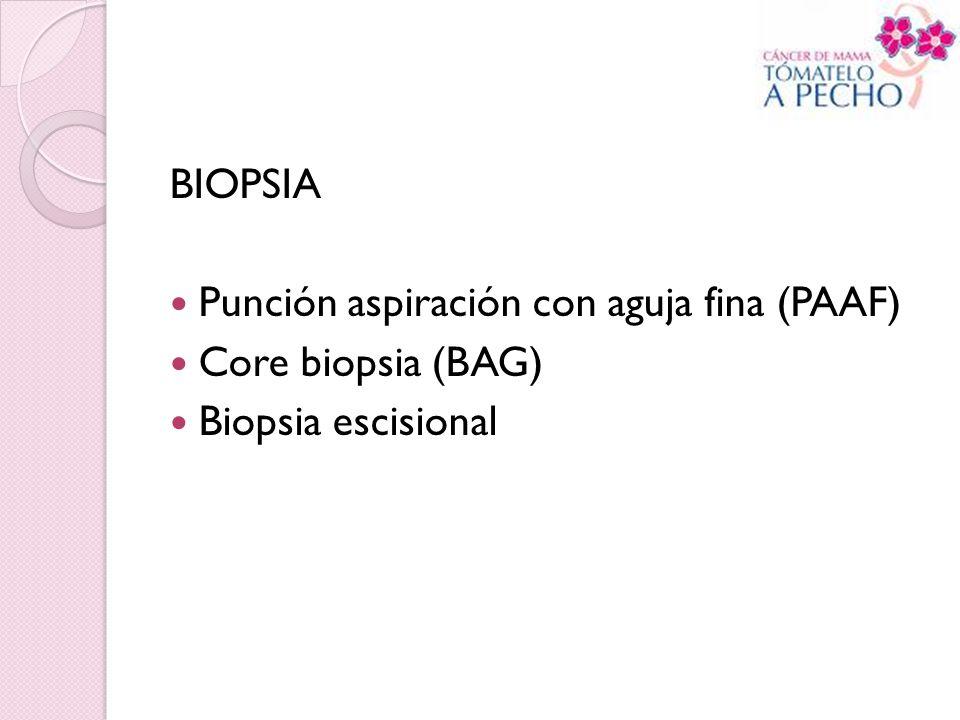 BIOPSIA Punción aspiración con aguja fina (PAAF) Core biopsia (BAG) Biopsia escisional