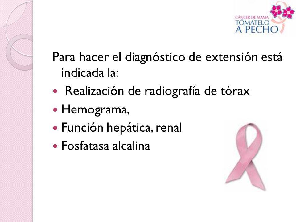 Para hacer el diagnóstico de extensión está indicada la: