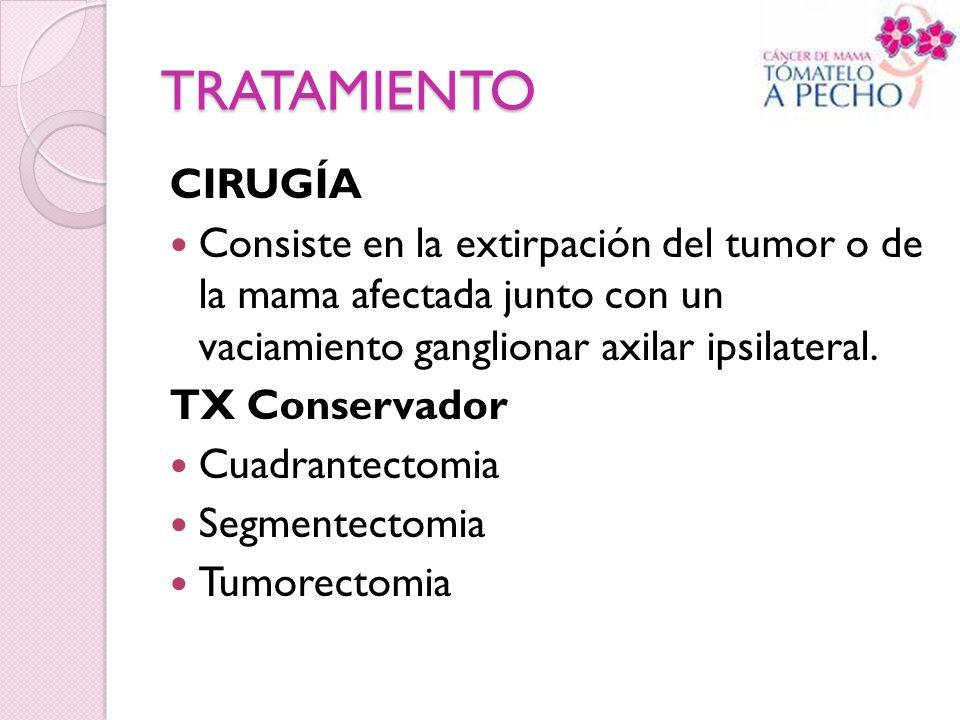 TRATAMIENTO CIRUGÍA. Consiste en la extirpación del tumor o de la mama afectada junto con un vaciamiento ganglionar axilar ipsilateral.