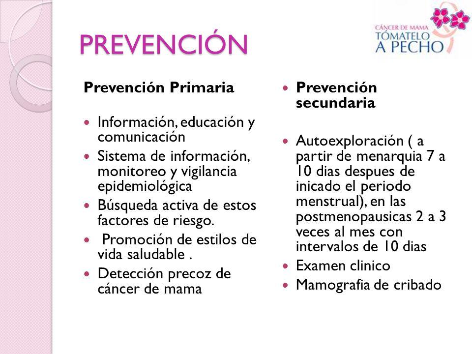 PREVENCIÓN Prevención Primaria Información, educación y comunicación