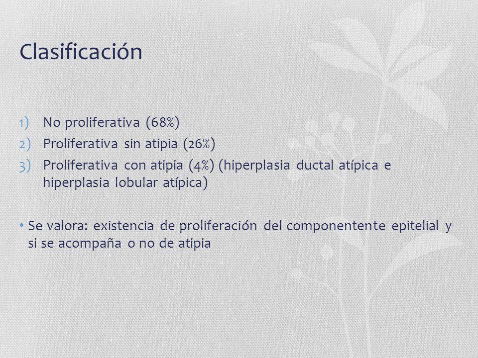 Clasificación No proliferativa (68%) Proliferativa sin atipia (26%)