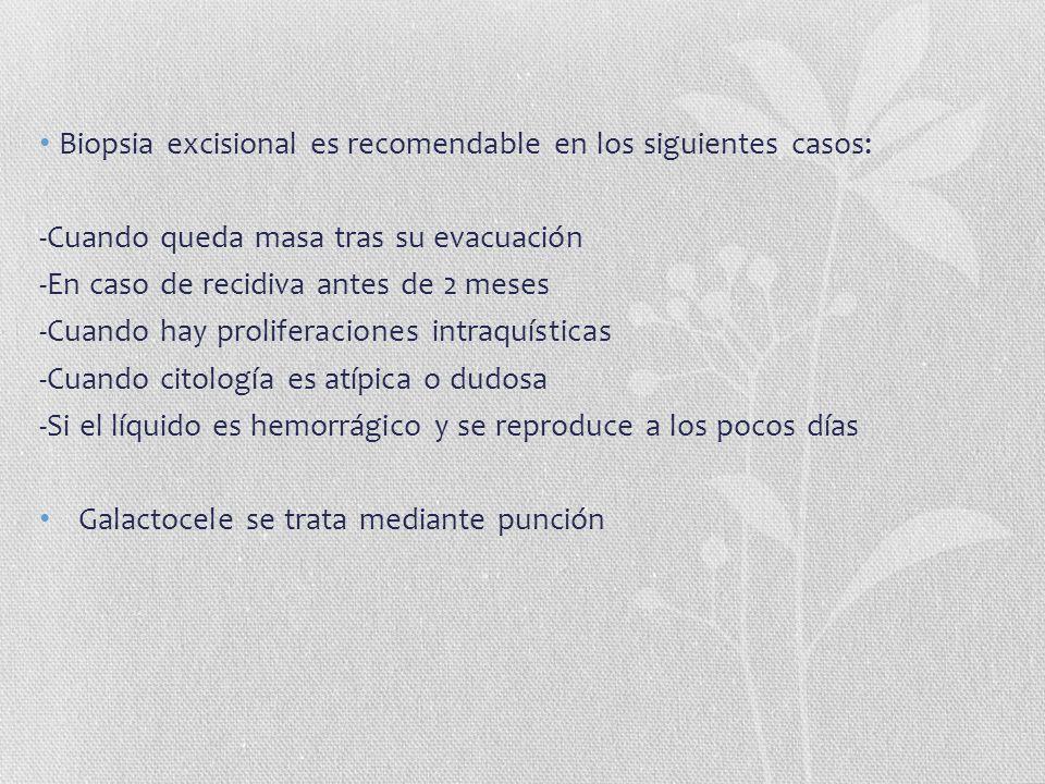 Biopsia excisional es recomendable en los siguientes casos: