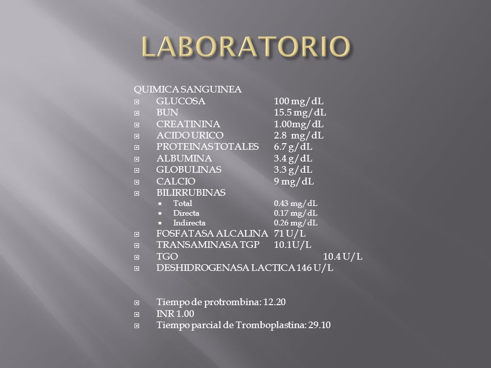 LABORATORIO QUIMICA SANGUINEA GLUCOSA 100 mg/dL BUN 15.5 mg/dL
