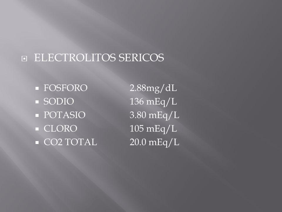ELECTROLITOS SERICOS FOSFORO 2.88mg/dL SODIO 136 mEq/L