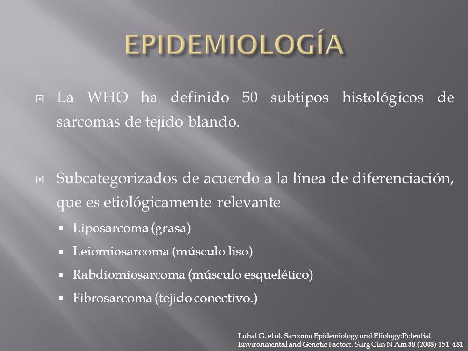EPIDEMIOLOGÍA La WHO ha definido 50 subtipos histológicos de sarcomas de tejido blando.