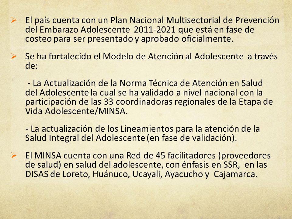 El país cuenta con un Plan Nacional Multisectorial de Prevención del Embarazo Adolescente 2011-2021 que está en fase de costeo para ser presentado y aprobado oficialmente.