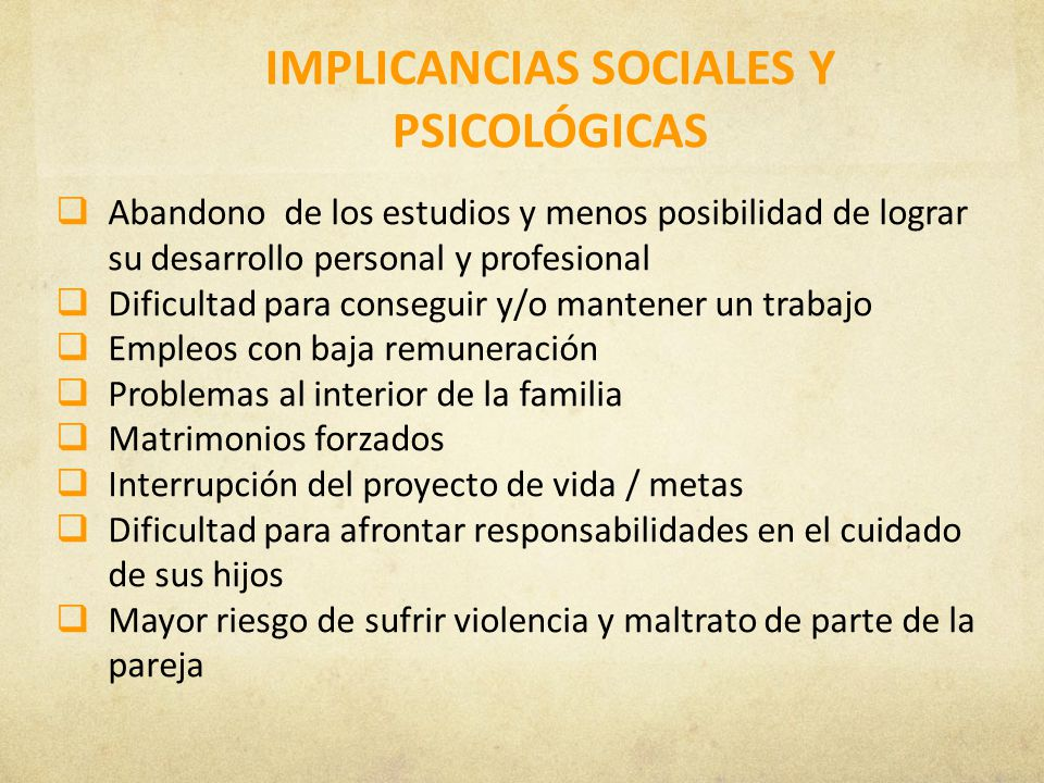 IMPLICANCIAS SOCIALES Y PSICOLÓGICAS