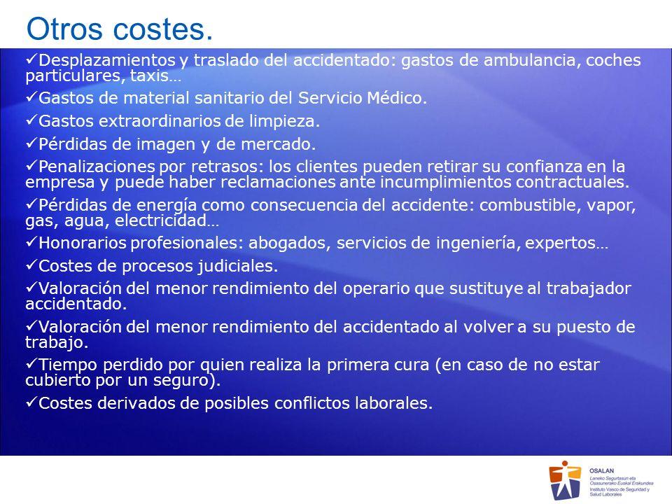 Otros costes.Desplazamientos y traslado del accidentado: gastos de ambulancia, coches particulares, taxis…