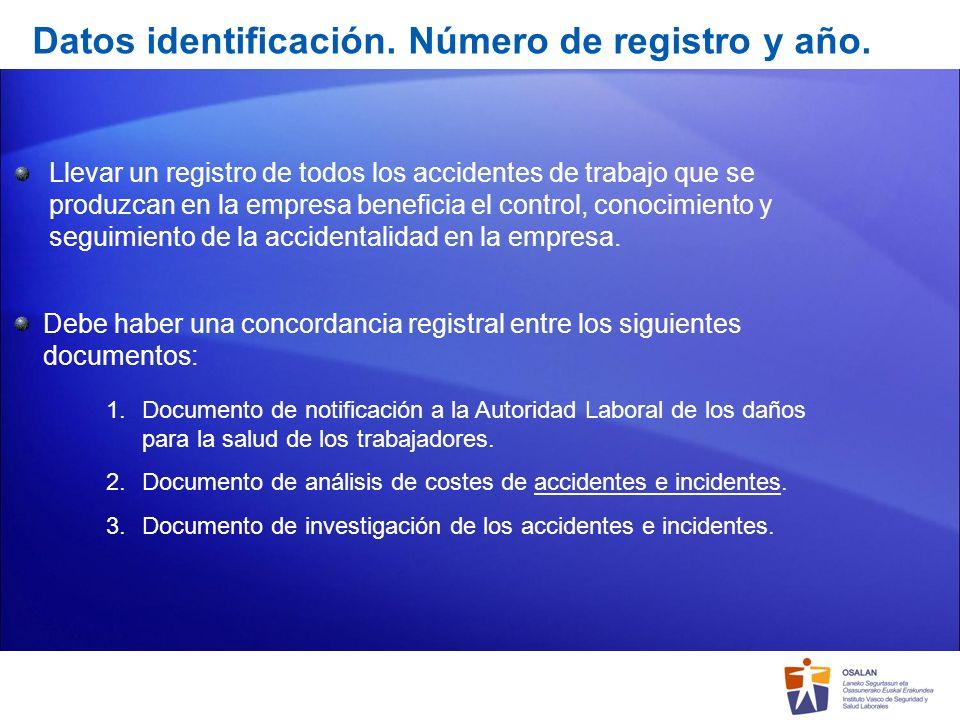 Datos identificación. Número de registro y año.