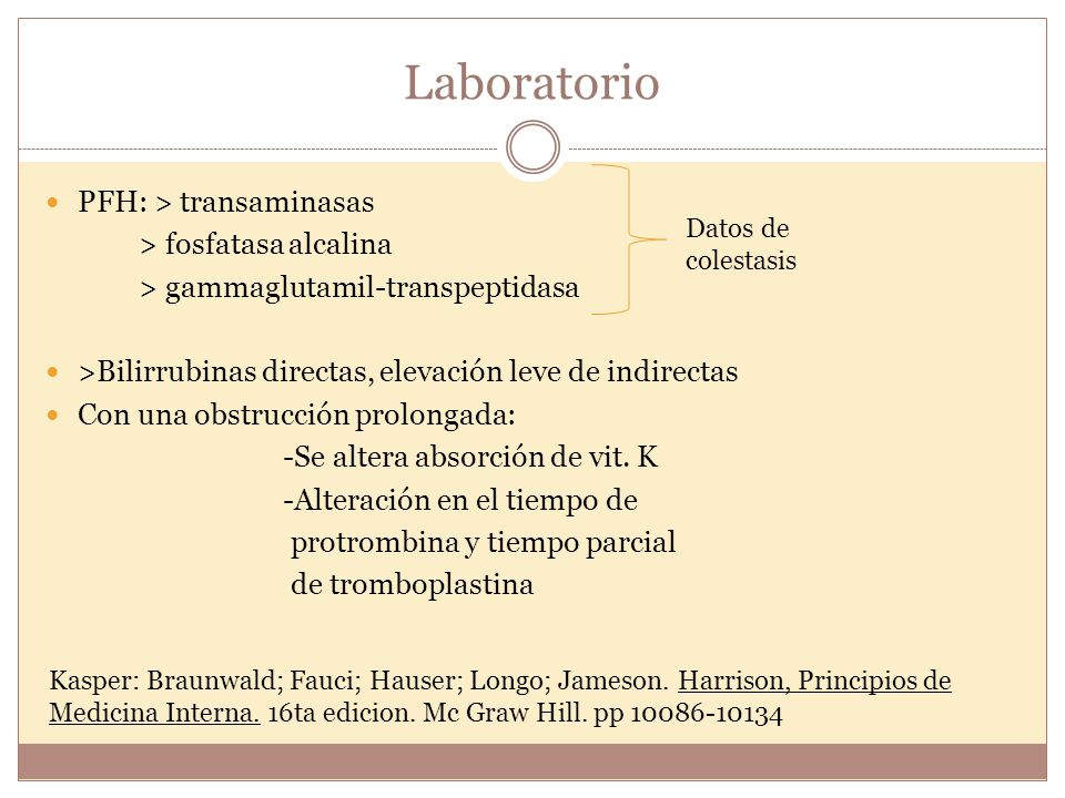 Laboratorio PFH: > transaminasas > fosfatasa alcalina