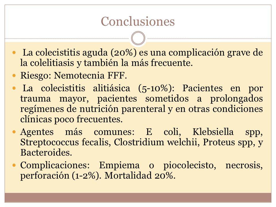 Conclusiones La colecistitis aguda (20%) es una complicación grave de la colelitiasis y también la más frecuente.