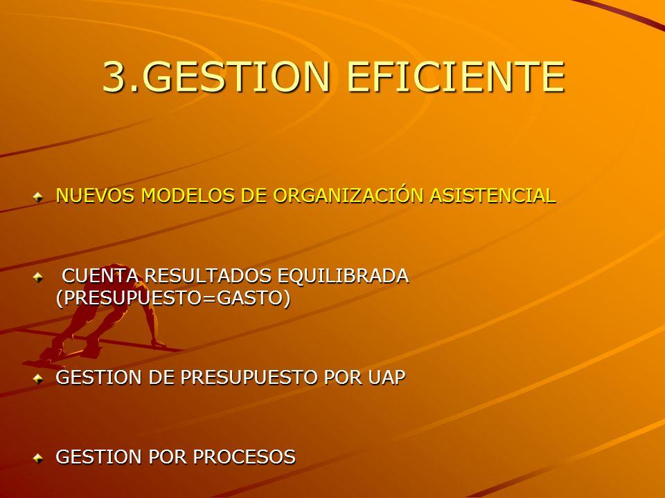 3.GESTION EFICIENTE NUEVOS MODELOS DE ORGANIZACIÓN ASISTENCIAL