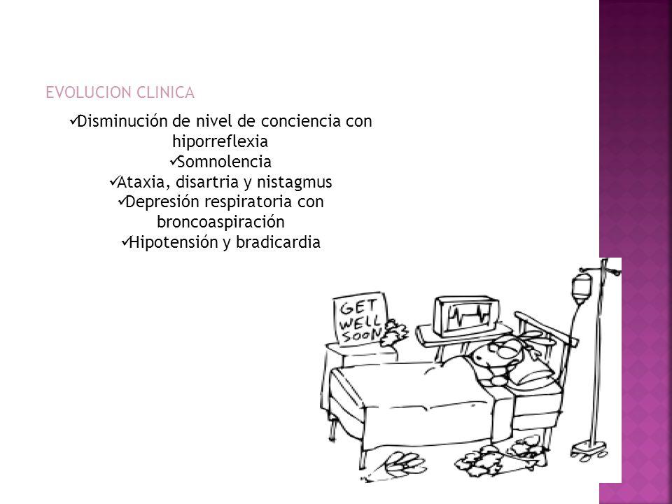 Disminución de nivel de conciencia con hiporreflexia Somnolencia