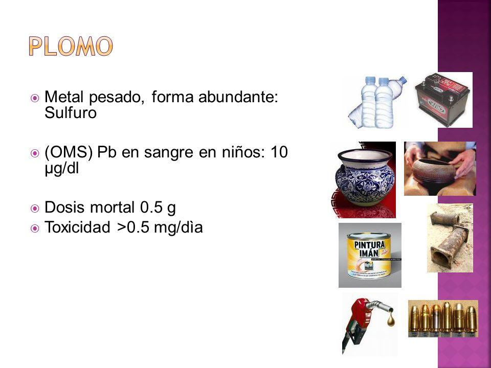 PLOMO Metal pesado, forma abundante: Sulfuro
