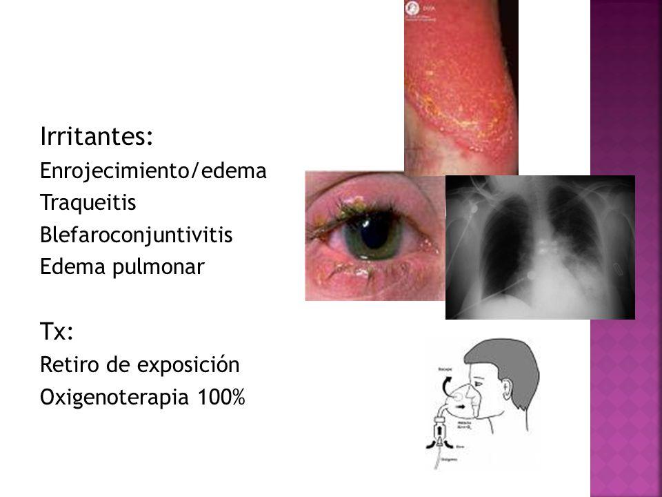Irritantes: Tx: Enrojecimiento/edema Traqueitis Blefaroconjuntivitis