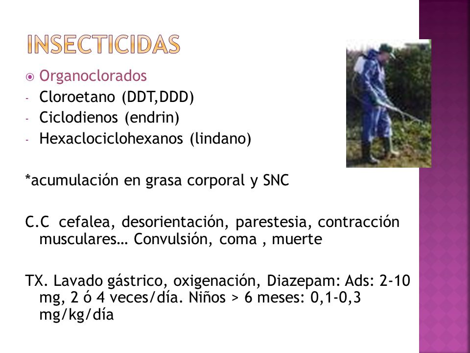 insecticidas Organoclorados Cloroetano (DDT,DDD) Ciclodienos (endrin)